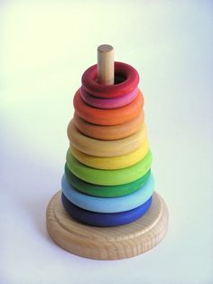 Natural Wood Toy RAINBOW Stacking Rings Waldorf by applenamos