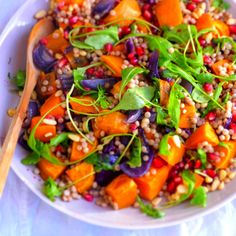 Warm sweet potato, red onion and giant cous cous salad with rocket, pomegranate and pine nuts Let's get this straight - I am not an advocate of cous cous. The only time I liked it was in a dish my sister made, with lots of lemon and coriander, where...