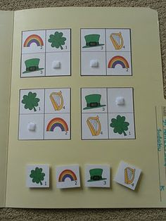 Shamrock file folder game-what a fun idea for young ones to learn basic critical thinking!