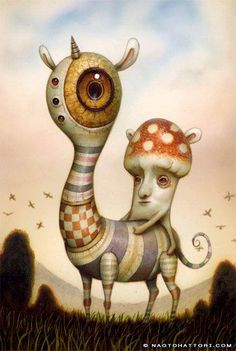 Surrealist paintings, so much fun and so much imagination! from: A mushroom man rides a bizarre animal in this surrealist painting by Naoto Hattori<br> Creepy Art, Weird Art, Fantasy Kunst, Fantasy Art, Bizarre Animals, Surrealism Painting, Arte Horror, Lowbrow Art, Wow Art