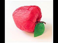 DIY: fabriquer un pomme en papier. Make one paper apple. - YouTube Fruits And Vegetables Pictures, Vegetable Pictures, Origami Paper, Paper Quilling, Paper Mache Balloon, Paper Fruit, Fruit Crafts, Paper Strips, Paper Folding