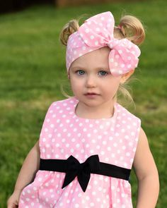 Rosa de lunares bebé Headwrap / / Minnie Mouse por AngelasDesignsNY