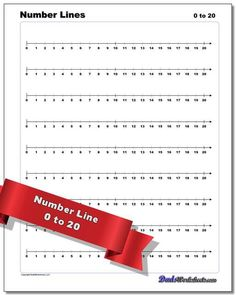 A number line is a tool for learning about negative numbers, ratios or just introductory addition and subtraction operations. The number line PDFs on this page include ranges (10, 12, 15, 20, 15 and 100) both starting from zero as well as negative ranges. A complete set of fraction number lines marked with common denominators is included in -5 to 5 ranges. There are also number lines for elapsed time, temperature and money, as well as blank number lines for regular ranges and fractions. Printable Number Line, Printable Numbers, Positive Numbers, Negative Numbers, Learning Fractions, Teaching Math, Fraction Chart, Multiplication Chart, Free Printable Math Worksheets