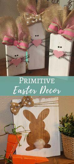 Primitive Easter Bunny Decor   Easter Decorations   Spring Decor   Easter Mantel Decor   DebDebsCrafts #easterbunny #ad #easter #primitive #rustichomedecor