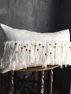 White Gold Fringe Tassel Moroccan wedding blanket Inspired Pillow by TaisaSilecky