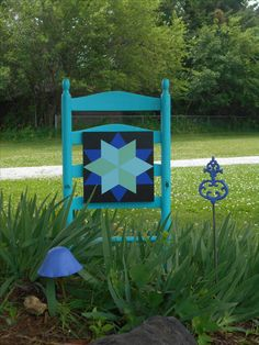 Star Barn Quilt 1'x1' displayed on re-purposed chair