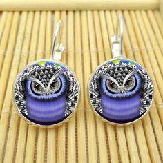 Glass Owl Drop Earrings