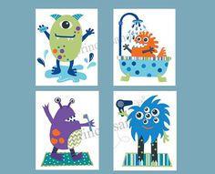 Cute little Monsters!!! Choose picture one or picture two SET OF FOUR 8X10 GICLEE PRINTS (20.3cmX25.4cm)   All prints are made from my original