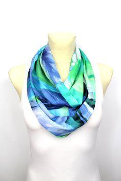 Blue Floral Scarf - Infinity Scarf - Loop Scarf - Circle Fabric Scarf - Women Shawl - Tube Unique Scarf - Fashion Shawl - Satin Scarf