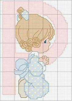 P niña Cross Stitch Alphabet, Cross Stitch Charts, Cross Stitch Patterns, Precious Moments, C2c Crochet, Baby Supplies, Baby Afghans, Cross Stitching, Little Girls