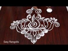 VARALAKSHMI VRATHAM SPECIAL MUGGULU 2019 // LOTUS SHANKU KALASAM KOLAM - YouTube Best Rangoli Design, Rangoli Designs Flower, Colorful Rangoli Designs, Kolam Designs, Simple Rangoli, Lotus, Make It Yourself, Friday, Youtube