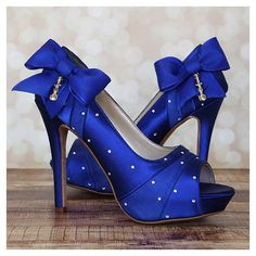 Women's Style Pumps Dark Blue Bow Peep Toe Platform Stiletto Heels Fall Fashion Dress Shoes Fall Fashion Wedding Shoes School Prom Dress Shoes For College Wedding Pumps for Wedding   FSJ