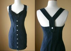 VTG 90s Black Denim MINI Wiggle Dress XS S BONGO Jeans Bandage GRUNGE Club PUNK