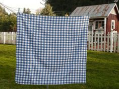 NICE Vintage Tablecoth Blue Gingham Cotton by NewLifeVintageRVs, $24.00