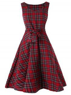 a31ce2de97 Sleeveless Tartan Skater Dress - CHERRY RED 2XL Christmas Dress Women