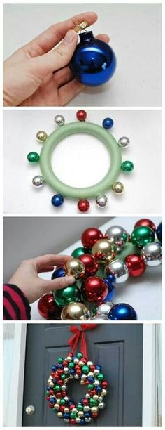 Using a pool noodle and ornaments. I would like to try it, maybe using a hot glue gun? This is just a picture