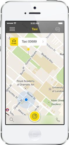 Taxi App Template (iOS7) by Tapha Ngum, via Behance