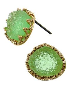 Gold Tone / Green Druzy Acrylic / Lead&nickel Compliant / Post / Button / Earring Set