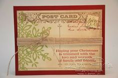 Stampin' Up! Post Card  Festive Flurries Christmas Card. Stampin' Dolce Blog Post. www.stampindolce.com