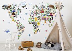 ArtPause_Animal_Map_Of_The_World_Photowall