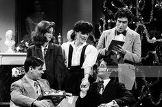 Dan Aykroyd as Clark Gable, Laraine Newman was Katharine Hepburn, Jane Curtin as Joan Crawford, Bill Murray as Cary Grant, and Elliott Gould as Archer Armstrong during the 'Mommie Dearest' skit on December 16, 1978 -- Photo by: NBC/NBCU Photo Bank