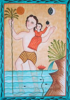 """St. Christopher   Catholic Christian Religious Art - Retablos by Br. Arturo Olivas, OFS - From your Trinity Stores crew, """"St. Christopher pray for us!"""" Catholic Saints, Patron Saints, Religious Icons, Religious Art, Famous Legends, Native American Ancestry, Pueblo Indians, Late Middle Ages, Vows"""