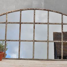 Industrial Warehouse Large Cast Iron Arched Window Mirror - Home Barn Vintage Arched Window Mirror, Arched Windows, Industrial Mirrors, Vintage Mirrors, Cast Iron, Warehouse, Uni, Venus, Bedroom