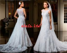 A-Line Bateau Illusion Backless Wedding Dresses Sweetheart Sheath Lace Mermaid Court Train Tulle Appliqued Bridal Gowns