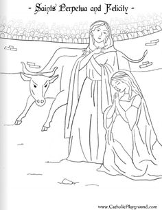 Saints Perpetua and Felicity coloring page: March 7th |