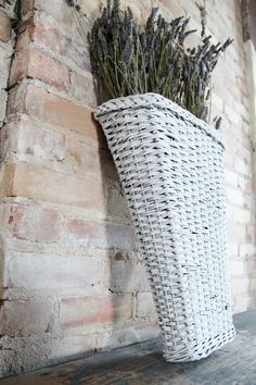 Vintage French Hanging Wicker Basket