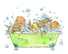 Otter bubble bath