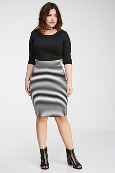 FOREVER 21 Plus Size Striped Pencil Skirt