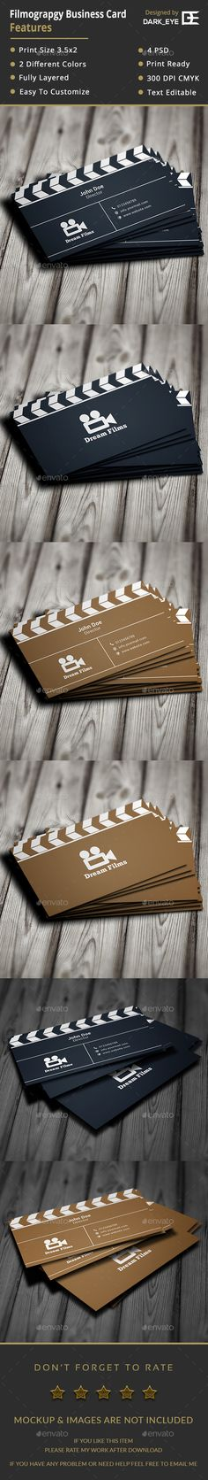Filmography Business Card — Photoshop PSD #filmmaking #filmographer • Available here → https://graphicriver.net/item/filmography-business-card/17624673?ref=pxcr