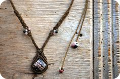 Macrame jewelry necklace with Rhodonite Unique by byMAYALe