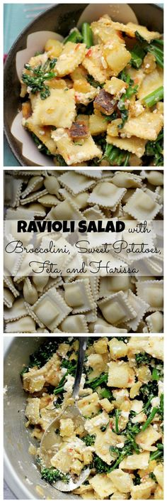 This ravioli salad with broccolini, sweet potatoes, feta, and harissa is sweet, spicy, savory and makes for an easy weeknight pasta salad.