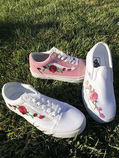 cheaper e25a2 393c8 Custom Rose Embroidered Vans
