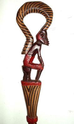 VINTAGE AFRICAN Walking stick cane Folk Art from Nigeria, carved ...