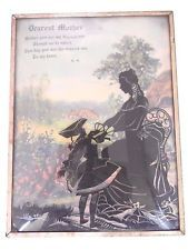 Vintage Mother Child Convex Glass Silhouette Colored Picture* Mothers Day Gift*