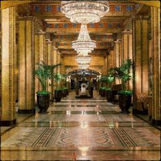 Admire the details of The Roosevelt New Orleans' ornate grand hallway.