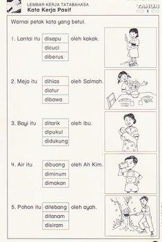 kata kerja Kindergarten Addition Worksheets, Kindergarten Reading Activities, English Worksheets For Kids, Preschool Writing, Kindergarten Math Worksheets, Kid Activities, Transportation Preschool Activities, Malay Language, Kids Education