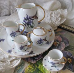 Purple Iris Miniature Porcelain Tea Set -