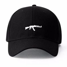 A canvas baseball cap featuring an embroidered