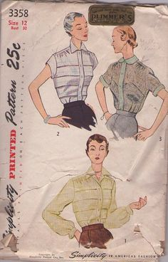 MOMSPatterns Vintage Sewing Patterns - Simplicity 3358 Vintage 50's Sewing Pattern STUNNING Petite Cocktail Blouse Set, Risque & Sheer or Horizontal Tucks Details