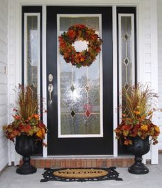 """Linda's Fabulous Fall"" urn filler or urn insert with matching wreath - landscaping French Home Decor, Retro Home Decor, Decorating Small Spaces, Porch Decorating, Decorating Ideas, Beautiful Front Doors, Fall Planters, Front Door Decor, Autumn Home"