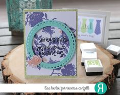 Card by Lisa Henke. Reverse Confetti stamps: Something Wonderful, Rose Garden. Confetti Cuts: Something Wonderful, Lacy Scallop Circle, Flowers for Mom. RC 6x6 paper: Fun Times. Mother's Day card.