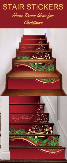 Christmas Star Tree Pattern Decorative Stair Decals
