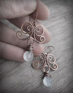 Wire Wrapped Copper Earrings with Amazonite