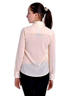 Anna-Kaci S/M Fit Off-White L/S Button Chiffon Blouse w Jewel Embellished Collar