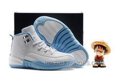 "1c38278165a Kids Air Jordan 12 ""Melo"" White/Metallic Gold-University Blue Discount 6ykBG"