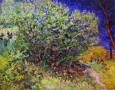 Vincent Van Gogh, Lilacs, 1889 -This was painted at Saint-Remy, where the artist was undergoing treatment. Van Gogh depicted a lilac bush in the hospital gardens. Vincent Van Gogh, Artist Van Gogh, Van Gogh Art, Art Van, Gustav Klimt, Claude Monet, Flores Van Gogh, Desenhos Van Gogh, Van Gogh Paintings